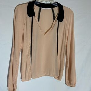 Zara light peach and black long sleeve blouse